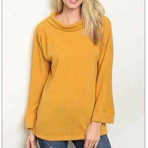 Mustard long sleeve cowl neck slub knit tunic top